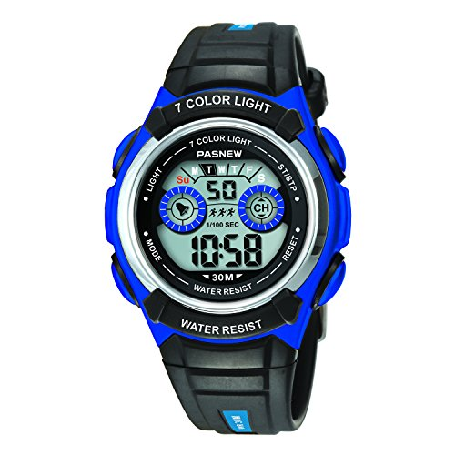 Digital Multi Function Sports Water Resistant 7-Colors Backlight Wrist Watches Children Boys Girls (Blue)