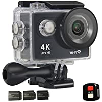 Action Camera 4K Ultra HD WIFI 2.4G Remote 16MP 170°Ultra-wide Angle Lens with SONY Sensor 30-Meter Waterproof with 3 Rechargeable 900mAh Batteries
