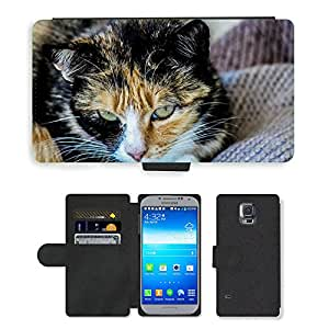 Super Stella Cell Phone Card Slot PU Leather Wallet Case // M00146257 Cat Feline Domestic Animals Animal // Samsung Galaxy S5 S V SV i9600 (Not Fits S5 ACTIVE)