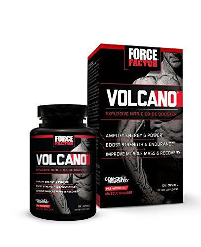 Force Factor VolcaNO, CON-CRÄ'T Powered Nitric Oxide Booster + Pre-Workout Supplement, 120 Count