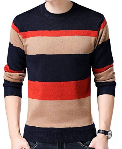 Sweater Knit Jumper M Men's Round amp;S Neck amp;W Long Stripe Sleeve 6 qSxOvCn