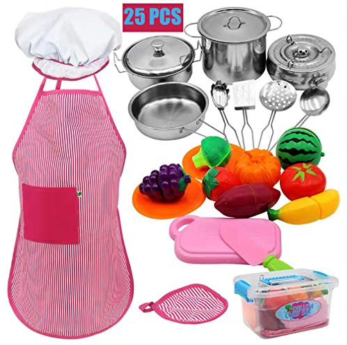 Kids Kitchen Toy - Play Kitchen Accessories&Chef Role Play Costume Set for Toddlers with Stainless Steel Cookware Pots and Pans, Cooking Utensils for Xmas Gifts Girls Boys 3, 4, 5, 6, 7 8+ Year Old
