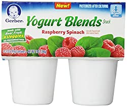 Gerber Yogurt Blends Snack, Raspberry Spinach, 4 Count, 3.5-Ounce Cups (Pack of 6)