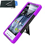for Sharp Aquos Crystal X 5.5 Hybrid Y Stand Cover Case Stylus Pen ApexGears (TM) Phone Bag. Black Purple