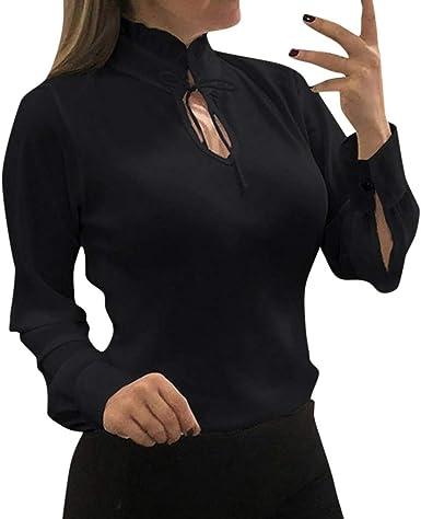 LANSKIRT Mujeres Camisetas Manga Larga Gasa Cuello Alto Sexy Camisa Escote Corbata Tops Blusas para Mujer Elegantes Talla Grande Ropa de Trabajo con Correa S-5Xl: Amazon.es: Ropa y accesorios