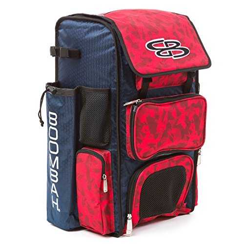Boombah Superpack Bat Pack -Backpack Version (no Wheels) - Holds 2 Bats - Stealth Camo Navy/Red - for Baseball or Softball