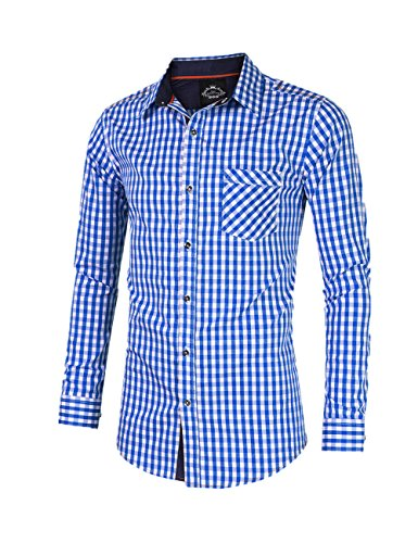 GloryStar Men's Casual Classics Oktoberfest costumes Turn-down Collar Long Sleeve Check Shirt Blue and White Checked XXL by GloryStar (Image #1)