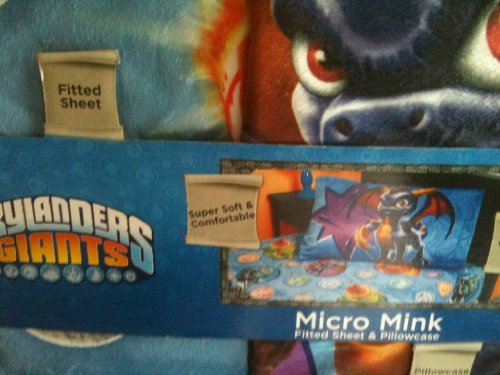 Skylanders Giants Micro Mink Bedding (Fitted Sheet and Pillow Case Twin)