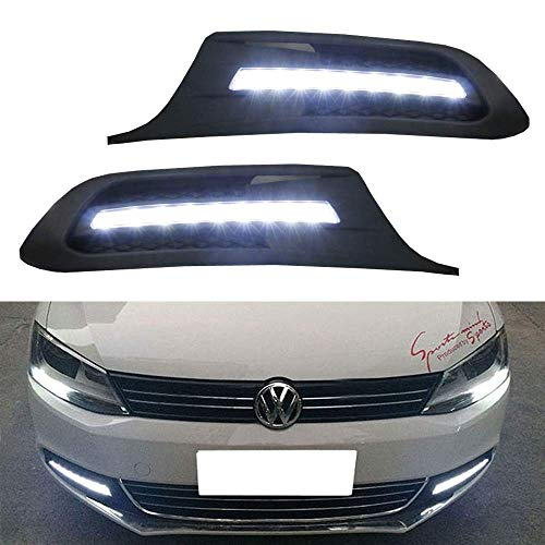 iJDMTOY Xenon White LED Daytime Running Lights For 2011-2014 Volkswagen Jetta, OEM Fit DRL Bezel Assembly Powered by (9) High Power LED Lights Each ()