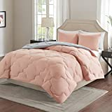 Comfort Spaces - Vixie Reversible Comforter Mini Set - 3 Piece - Coral and Grey - Stitched Geometrical Pattern - Full/Queen size, includes 1 Comforter, 2 Shams