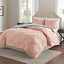 Comfort Spaces Vixie Reversible Goose Down Alternative Comforter Mini Set - 3 Piece – All Season – Coral and Grey – Full/Queen size, includes 1 Comforter, 2 Shams