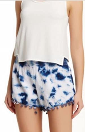 Romeo + Juliet White Womens Medium Pom-Pom Shorts Blue M