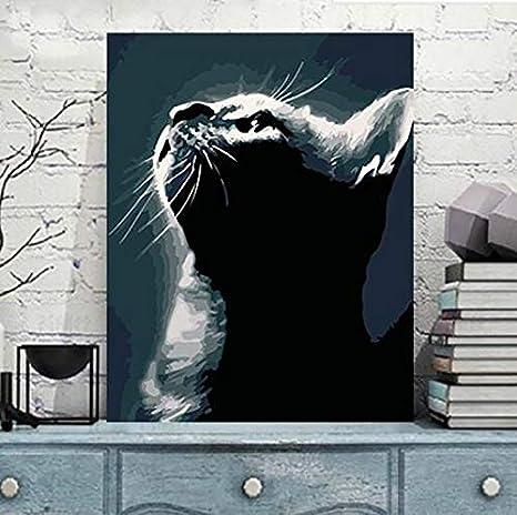 Liliya& Pintura por Kit Digital, DIY Pintura al óleo Pintura Gato Negro Lienzo y Pincel