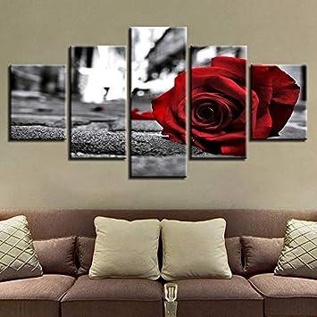 mmwin Impresiones en Blanco y Negro para Sala de Estar decoración Arte de la Pared 5 Piezas románticas Rosa roja Flores Lienzo Cuadros Cartel Modular: Amazon.es: Hogar