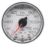 Auto Meter P32511 Gauge Oil Pressure (Spek-Pro 2 1/16'', 120Psi, Stepper Motorwith Peak & Warn, Wht/Chrm, Spek-Pro)