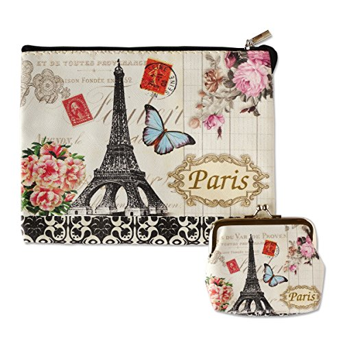 Digital Print Faux Leather Wallet Cosmetic Pouch and Coin Purse - 2pcs set -ButterFly Paris