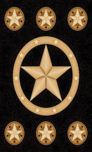 Champion Rugs Texas Star Western Black Area Rug Design CR81 8 Feet X 10 Feet