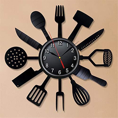 xushihanjjli Wall Clocks Cutlery Modern Design Spoon Fork Kitchen Watch Vintage Retro Style Vinyl Record Home Decor Silent Can Well Decorate Home Office Coffee Bar Hotel Restaurant