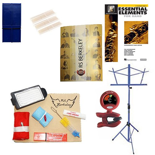 Tenor Saxophone Players Super Pack - Essential Accessory Pack for the Saxophone: Includes: Saxophone Care & Cleaning Kit, Saxophone Reed Pack w/Reed Holder, Music Stand, Band Folder, Essential Elements 2000 Band Book, & Tuner & Metronome by Tenor Saxophone Accessory Pack