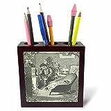 3dRose TDSwhite – Christmas Holidays Xmas - Vintage Father Christmas Santa Claus Baby Fireplace - 5 inch Tile Pen Holder (ph_285087_1)