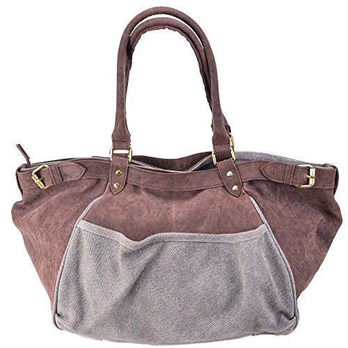 Schultertasche Damen Leder Shopper Vintage Used-Look Leder Schultertasche XL Handtasche