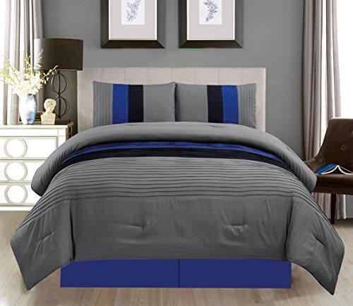 "Grand Linen 4 Piece Queen Size Navy Blue/Black/Grey Pin Tuck Stripe Regatta Goose Down Alternative Comforter Set 90"" X 90"" Bedding"