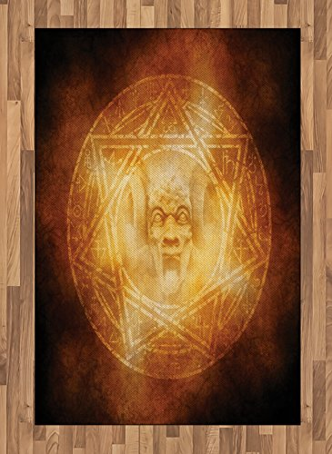 Horror House Area Rug by Ambesonne, Demon Trap Symbol Logo Ceremony Creepy Scary Ritual Fantasy Paranormal Design, Flat Woven Accent Rug for Living Room Bedroom Dining Room, 4 x 6 FT, Orange by Ambesonne