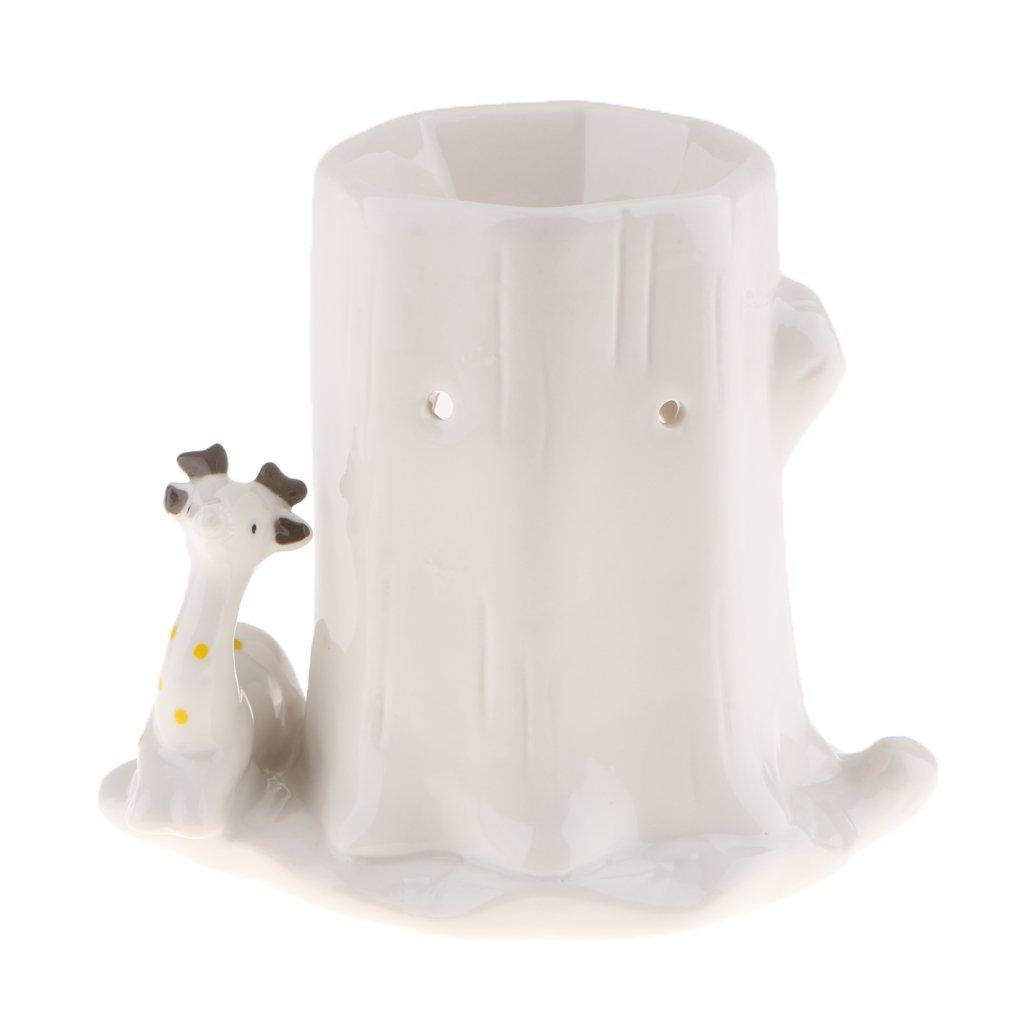 Homyl Lovely White Animal Candle Holder Cone Incense Burner Lantern Ornaments - Giraffe