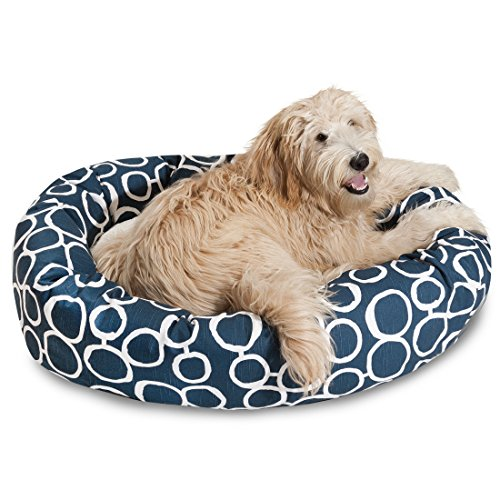 """Majestic Pet 24"""" Fusion Navy Sherpa Bagel Bed"""