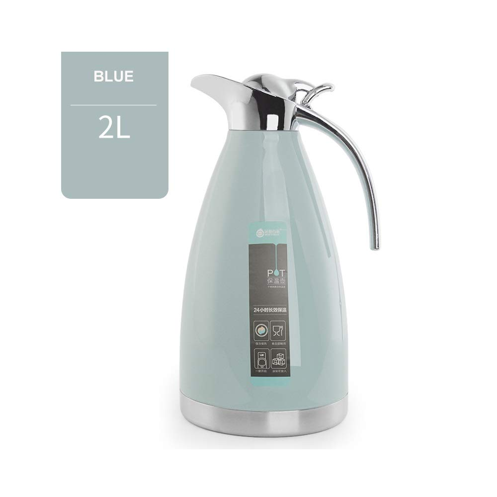 Jaxonn Home 2 Litre Stainless Steel Coffee Jug/Double Walled Vacuum Tea Carafe / 12 Hour Heat Retention / 24 Hour Cold Retention (Color : Blue, Size : 2L) by Jaxonn Home