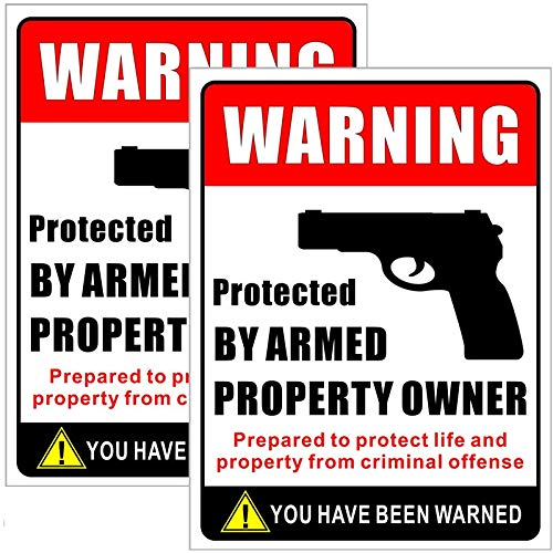 Outdoor/Indoor (2 Pack) Large Size 12 X 9 - Protected by Armed Property Owner - Home Business Window Door Gun Handgun Warning Signs Alert Vinyl Label Sticker Decal - Back Self Adhesive Vinyl