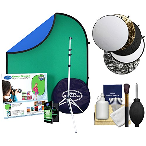 Savage DPK100 Digital Photography Kit with Chroma Key Background, Software, Stand & Case + Reflectors + ()