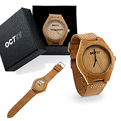 Oct17 Men's Walnut Wood Fashion Bamboo Wooden Watch Quartz Genuine Leather Japanese Quartz Movement Casual Brown Wristwatches