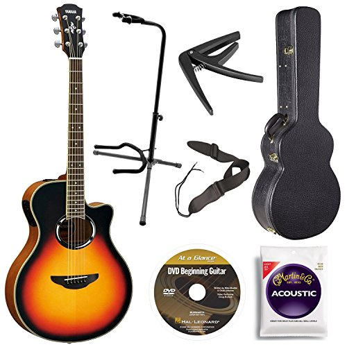Yamaha APX500IIIVS Acoustic Electric Cutaway Guitar, Vintage Sunburst Bundle with Hardshell Guitar Case, Guitar Stand, Beginner DVD, Strap, Capo and Guitar (Acoustic Electric Guitar Vintage Sunburst)