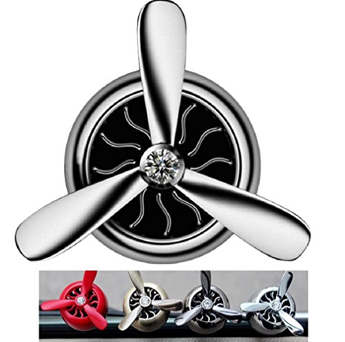 (Turbo Spinning Car Air Freshener, Car Vent Clip fragrance diffuser, Essential oil Air freshener, Stylish Propeller shape car decor, eliminates smell and odors (Silver))