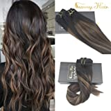 Sunny New Balayage Color Remy Hair Extensions Natural Black to Chesnut Brown Highlight Black Clip in Human Hair Extensions 7pcs 120gram for Beautiful Hairstyle 24inches
