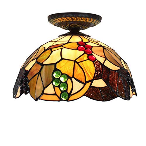 (QCKDQ 12 Inch Ceiling Lights, Tiffany Style Ceiling Lamp with Grape Stained Glass Lamp,Retro Livingroom Decoration Lights E27,Max40w)