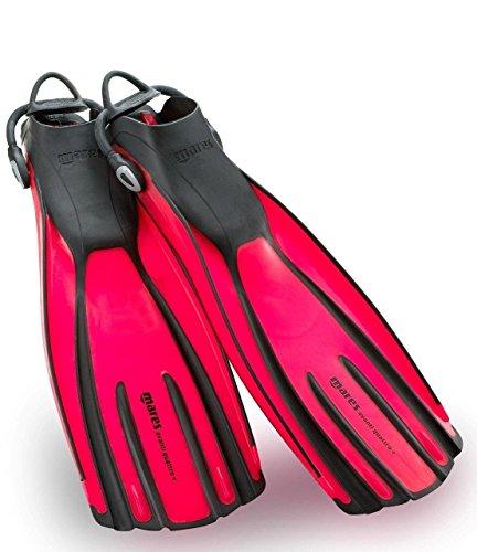 New Mares Avanti Quattro Plus Open Heel Scuba Diving Fins (Regular) with New Style Bungee Heel Strap - Flamingo Pink