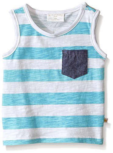 Rosie Pope Little Boys Striped Tank Top, Petite Four, 24 (Blue Striped Tank Top Shirt)