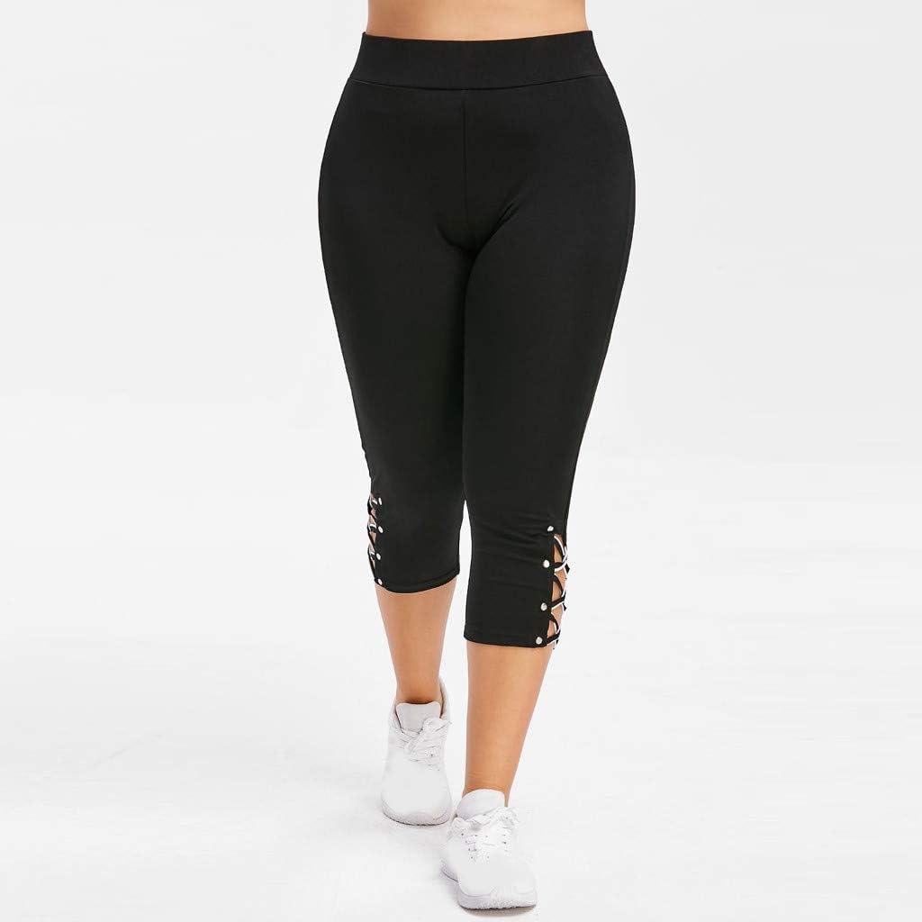 Napoo Women Plus Size Ripped Holes Sport Elastic Pants Leggings