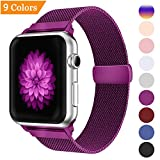 Bandx Milanese Loop Band for Apple Watch 38mm 42mm,Stainless Steel Mesh Band with Magnetic Closure for iWatch Series 3 Series 2 Series 3(purple 42mm)