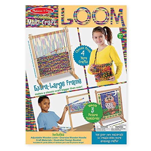 "51B9axdIziL - Melissa & Doug Wooden Multi-Craft Weaving Loom, Arts & Crafts, Extra-Large Frame, Develops Creativity and Motor Skills, 16.5"" H x 22.75"" W x 9.5"" L"
