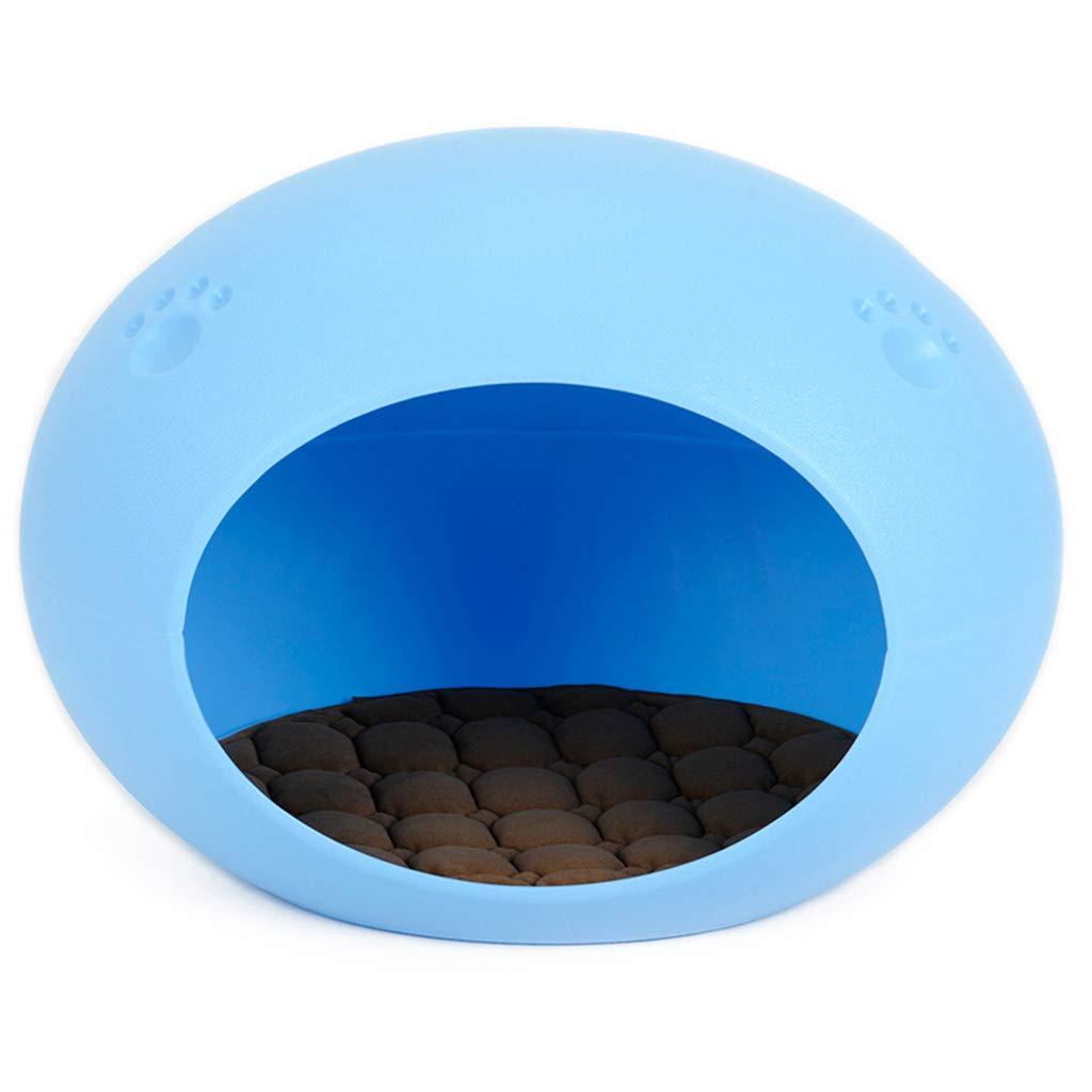 blueE 435942CM blueE 435942CM Pet Bed pet nest pet Supplies Oval Egg nest cat Litter cat House cat Tent Four Seasons Universal cat pet nest (color   bluee, Size   43  59  42CM)