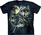 The Mountain Men's Moon Wolves Collage T-Shirt, Blue, Small