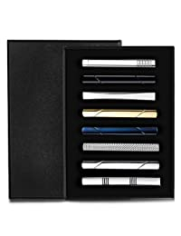 Subiceto 8 Pcs Tie Clips Set for Men Tie Bar Clip Set for Regular Ties Necktie Wedding Business Clips with Box