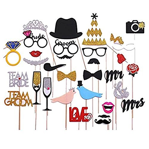 Veewon 31 pcs Photo Booth Props for New Fashion Wedding and Valentines Day,Love Bird,Mr Mrs,Crown and other Decorations Accessories
