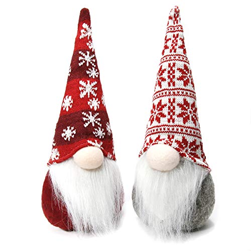 Townshine Christmas Gnome Handmade Gnomes Tomte,Set of 2 Shapeable Plush Christmas Figurines Toy Ornaments Gift Holiday Christmas Thanks Giving Day - 12 Inches