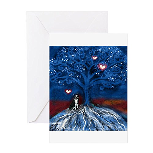 CafePress Boston Terrier Love Night Glowing Hearts Tree Gree Greeting Card, Note Card, Birthday Card, Blank Inside Matte