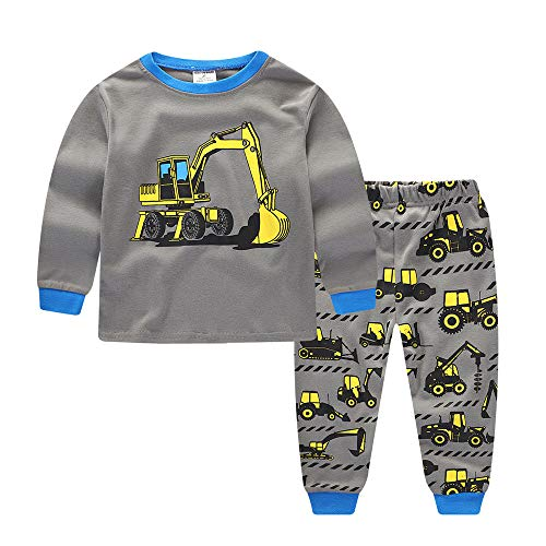 Tronet Kids Baby Boys Gray Cartoon Tractors Print Long Sleeve Tops+Pants Casual Outfits Set (3T(Age:2-3Years), Gray) ()