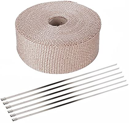 ESUPPORT 5CM X 5M Fiberglass Roll White Racing Exhaust Header Pipe Wrap Tape 6 Ties Car